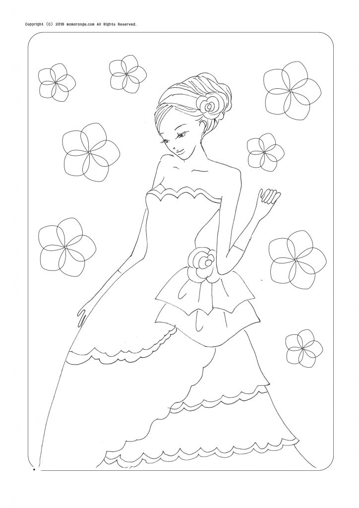 お姫様の塗り絵、アップスタイルの女の子