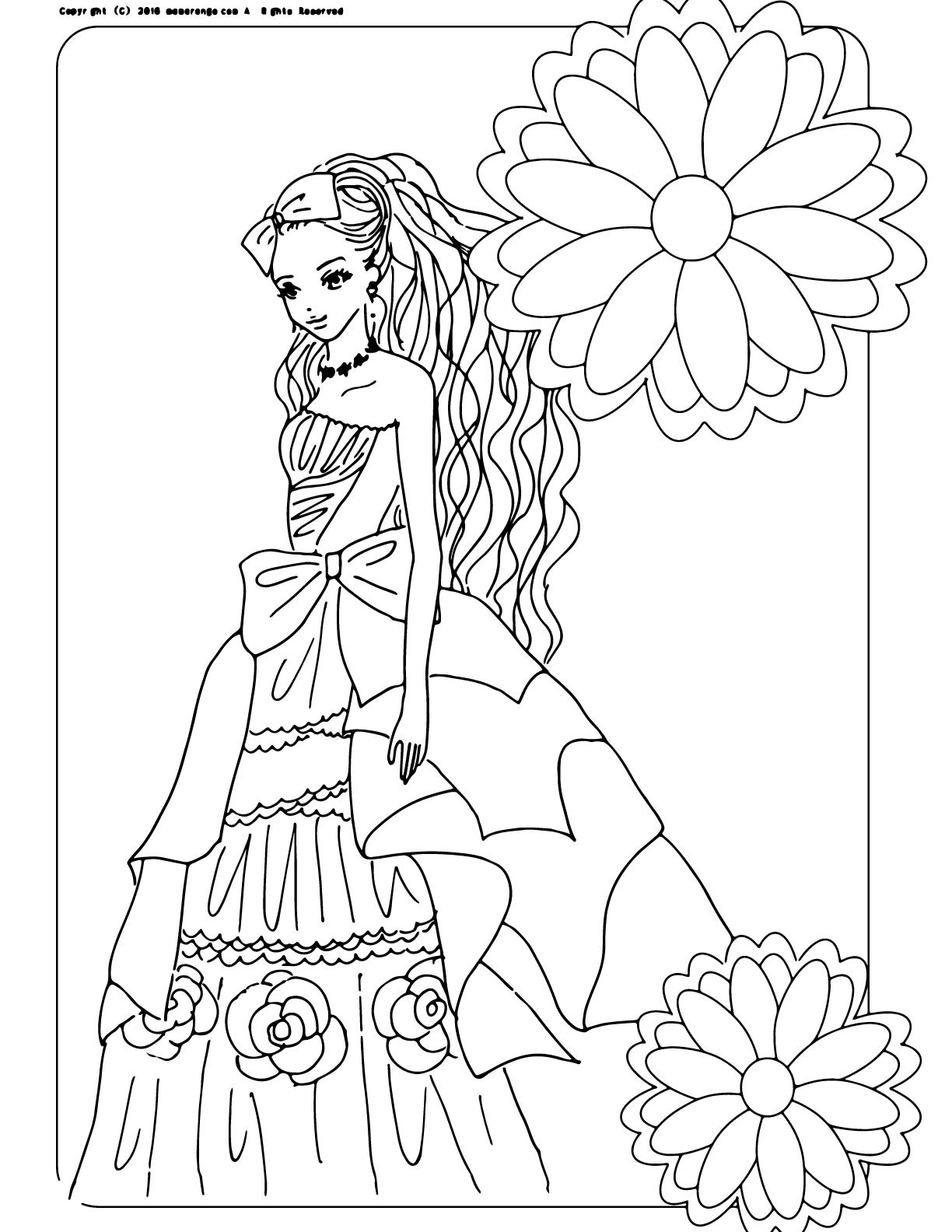 お姫様の塗り絵_大人の塗り絵_ドレス