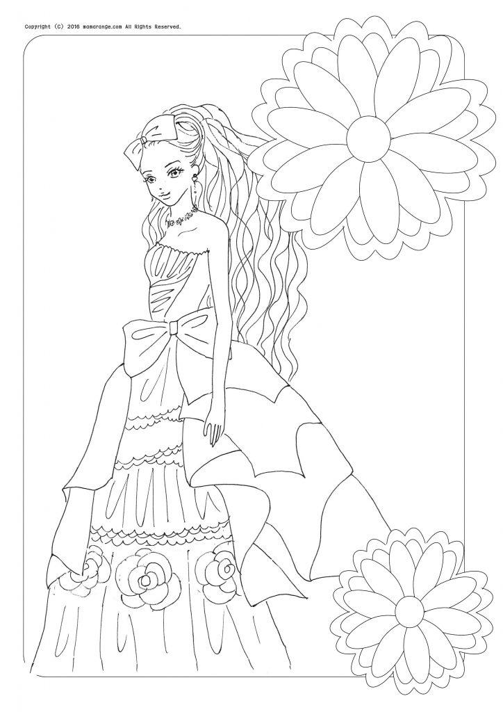 お姫様の塗り絵、髪の長い女の子