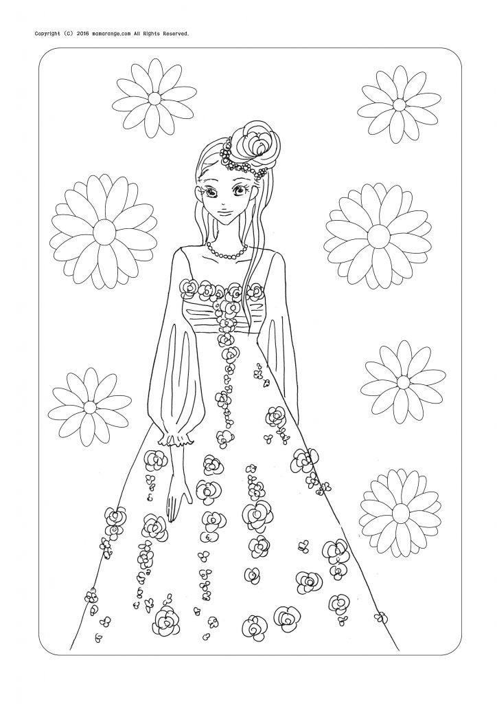 お姫様の塗り絵_花柄の女の子