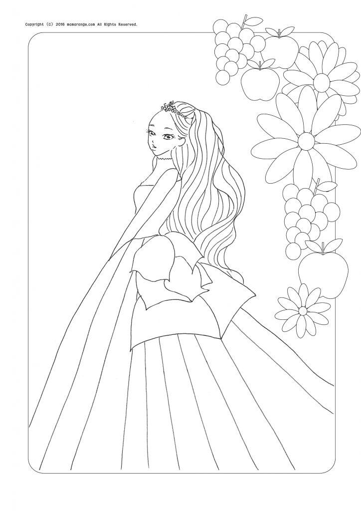 お姫様の塗り絵_リボンの女の子