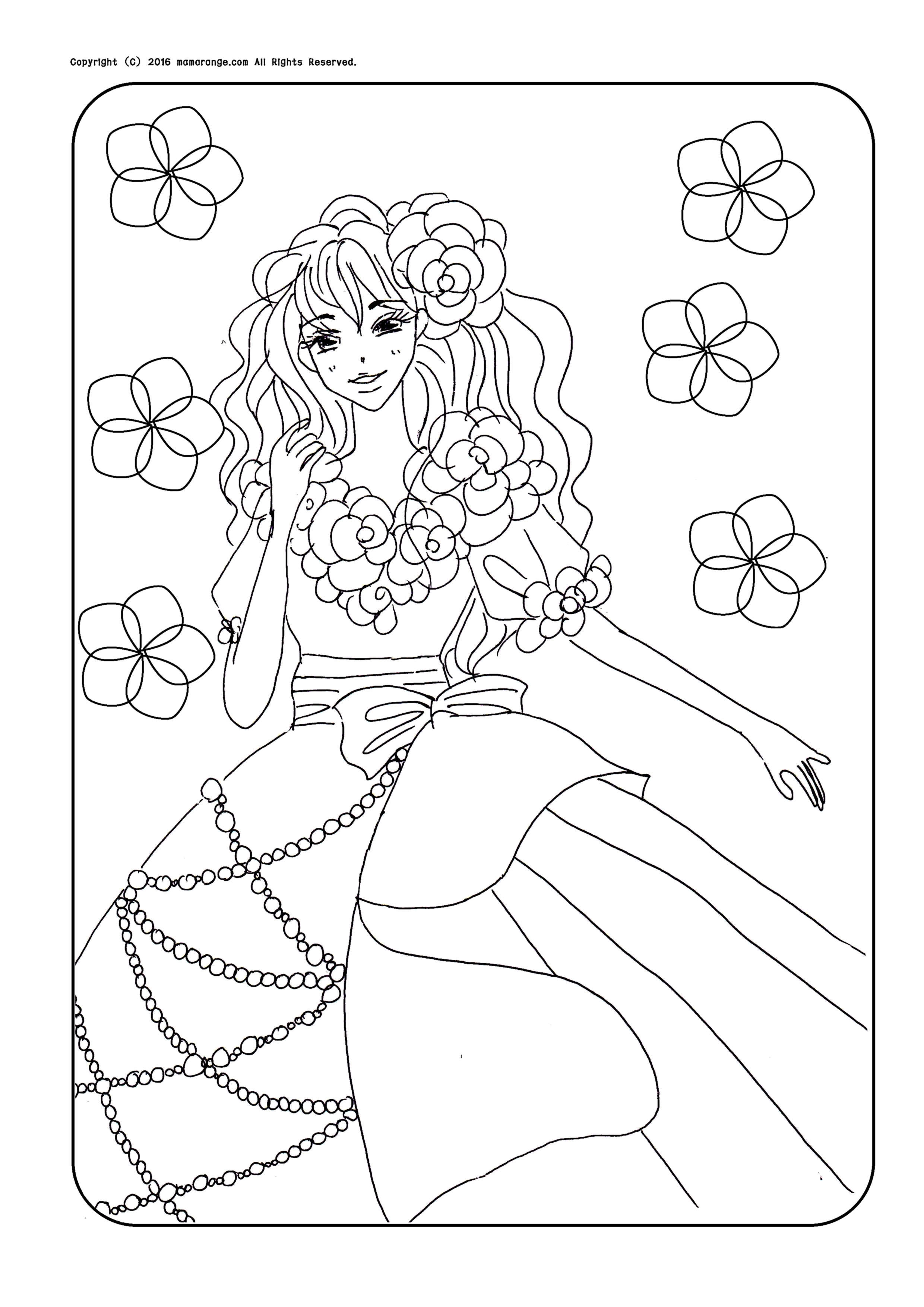 ドレスを着たお姫様 塗り絵